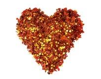 Coeur de poivre de piment rouge écrasé Photographie stock