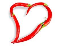 Coeur de poivre de /poivron d'isolement sur le blanc Image stock