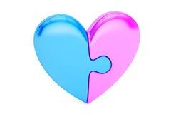 Coeur de puzzle, concept d'amour rendu 3d Photos libres de droits