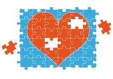 Coeur de puzzle denteux, vecteur Images libres de droits
