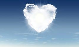 Coeur de rayon de soleil de witn de nuages Photo libre de droits