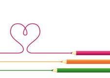 Coeur de retrait de crayons Photographie stock libre de droits