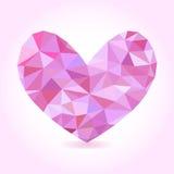 Coeur de rose d'illustration de vecteur Coeur polygonal abstrait Bas-poly fond romantique Photos stock