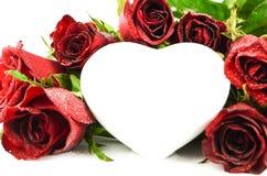 Coeur de rose de rouge, amour de valentine Image libre de droits
