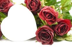 Coeur de rose de rouge, amour de valentine Image stock