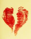 Coeur de rouge à lèvres d'impression Images stock