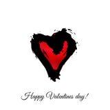 Coeur de rouge d'aquarelle de vecteur Carte de voeux heureuse de jour du `s de valentine Photos libres de droits