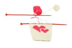 Coeur de rouge du Knit deux Images libres de droits