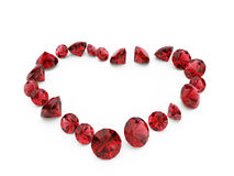 Coeur de rubis de diamant Photos stock