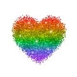 Coeur de scintillement, couleurs d'arc-en-ciel, symbole de LGBT D'isolement sur le fond blanc Vecteur Images stock