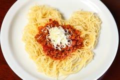 Coeur de spaghetti Photos libres de droits