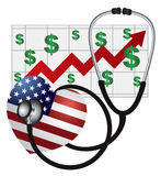 Coeur de stéthoscope avec le drapeau et le diagramme des USA Image libre de droits