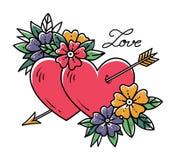 Coeur de tatouage avec la flèche Deux coeurs percés par la flèche avec des fleurs Amour Tatouage de vieille école Illustration de Photos stock