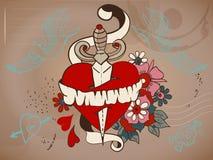 coeur de tatouage de style de Vieux-école avec les fleurs et le poignard, Valentine Photos libres de droits