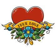 Coeur de tatouage percé avec la flèche Coeur décoré des fleurs, des feuilles et du ruban Amour vrai Symbole d'intrigue amoureuse illustration libre de droits