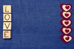 Coeur de textile, inscription Images libres de droits