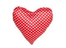 Coeur de tissu rouge avec des points de polka Images stock