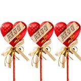 Coeur de trois rouges pour le cadeau Photo libre de droits