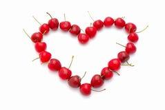 Coeur de Valentine de cerises Photo libre de droits