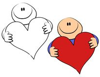 Coeur de Valentine de fixation de type de dessin animé illustration stock