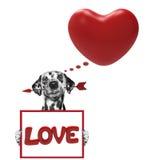 Coeur de valentine de maquette avec le chien Image libre de droits