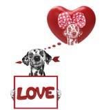 Coeur de valentine de maquette avec le chien Photo libre de droits