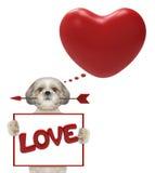 Coeur de valentine de maquette avec le chien mignon Photo stock