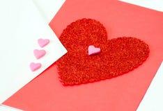 Coeur de Valentine en rouge et le rose Images libres de droits