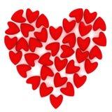 Coeur de Valentine fait de beaucoup de petits coeurs roses de velours Images libres de droits