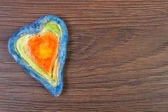 Coeur de Valentine fait de pâte de sel, symbole de l'amour, l'espace de copie pour le texte Photos libres de droits