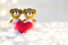 Coeur de valentines d'étreinte de poupée d'ours Photo libre de droits