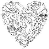 Coeur de vecteur de contour de biftecks de viande Photo stock