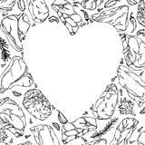 Coeur de vecteur de contour de biftecks de viande Photographie stock libre de droits