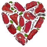 Coeur de vecteur des biftecks de viande Photographie stock