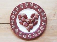 Coeur de viande fait de coeurs de poulet Image libre de droits