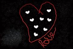Coeur de Wooll, beaucoup de petits coeurs et texte Photo libre de droits