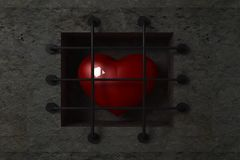 Coeur derrière des bars illustration libre de droits