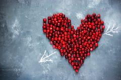 Coeur des baies, coeur rouge de canneberge, amour et santé concentrés Photo libre de droits