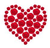 Coeur des bourgeons roses de rouge d'isolement sur le blanc Images libres de droits