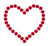 Coeur des bourgeons roses de rouge d'isolement sur le blanc Image libre de droits
