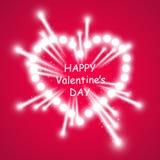 Coeur des feux d'artifice lumineux d'ith de lampes sur le fond rose Carte de jour de Valentines Coeur avec l'inscription je t'aim Photo stock