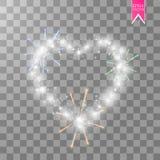 Coeur des feux d'artifice lumineux d'ith de lampes sur un fond transparent Carte de jour de Valentines Coeur avec l'inscription I Images libres de droits
