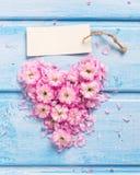 Coeur des fleurs et des pétales roses et Empty tag sur le bois bleu Photo libre de droits
