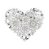 Coeur des fleurs et des papillons pour livres de coloriage pour des adultes et des enfants plus âgés illustration de vecteur