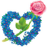 Coeur des fleurs oublier--avec une rose Photo stock
