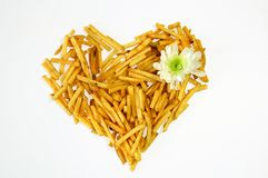 Coeur des fritures de pomme de terre Photos libres de droits