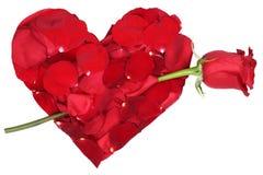 Coeur des pétales avec le sujet d'amour de rose de rouge Valentine et le MOIS Image stock