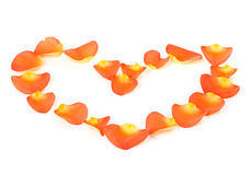 Coeur des pétales de rose Photographie stock libre de droits