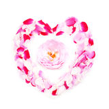 Coeur des pétales roses Photos libres de droits