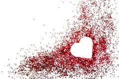 Coeur des paillettes roses de poudre Photographie stock